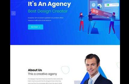 蓝色美工设计公司bootstrap网站模板源代码下载