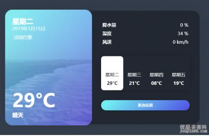 简单的天气预报ui设计模板源代码下载