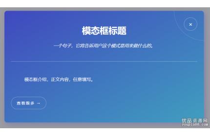 css3打开模态框窗口特效源代码下载