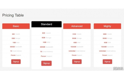 CSS3服务报价单模块HTML代码+免费分享下载
