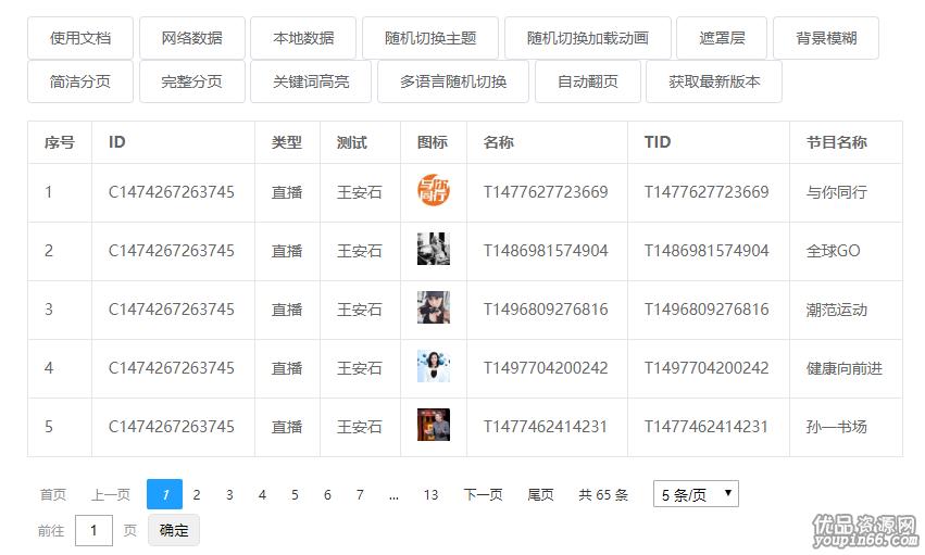 JSON动态分页页码表格插件源码